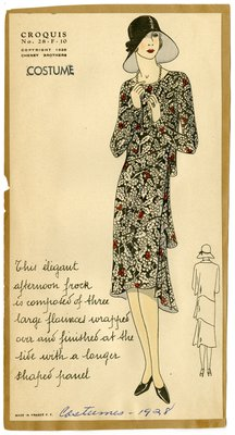 Woman in Flounced Dress with Holly Pattern