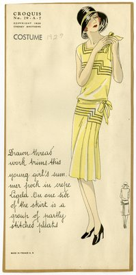 Woman in Crepe Summer Dress with Pleated Skirt