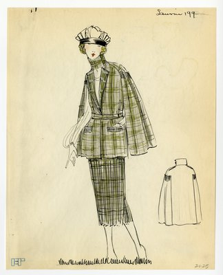 Original sketch from A. Beller & Co. of a Lanvin design, circa 1920