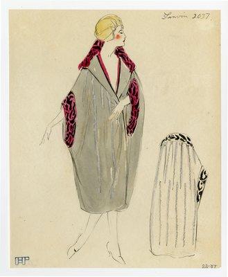 Original sketch from A. Beller & Co. of a Lanvin design, circa 1920