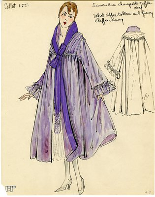 Original sketch from A. Beller & Co. of a Callot Soeurs design, circa 1915-1920