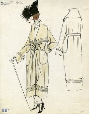 Original sketch from A. Beller & Co. of a Callot Soeurs design, circa 1918-1920