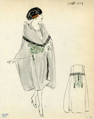 Original sketch from A. Beller & Co. of a Callot Soeurs design, circa 1920