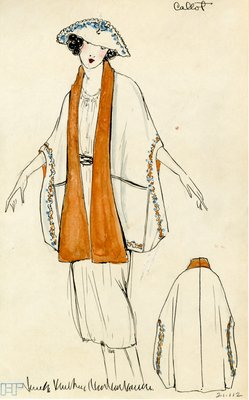 Original sketch from A. Beller & Co. of a Callot Soeurs design, 1920