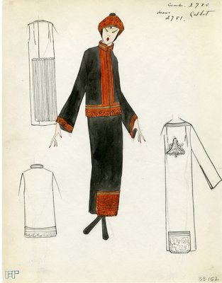 Original sketch from A. Beller & Co. of Callot Soeurs design, Spring 1923