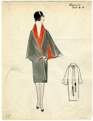 Original sketch from A. Beller & Co. of Callot Soeurs design, 1926