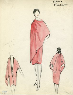 Original sketch from A. Beller & Co. of Callot Soeurs design, Fall-Winter 1927-1928