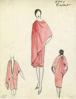 Original sketch from A. Beller & Co. of Callot Soeurs design, Fall-Winter 1927-1928