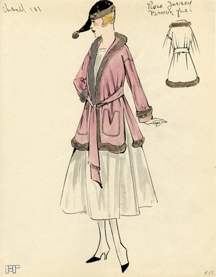 Original sketch from A. Beller & Co. of a Chanel design, circa 1915-1920