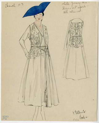Original sketch from A. Beller & Co. of a Chanel design, circa 1916-1920