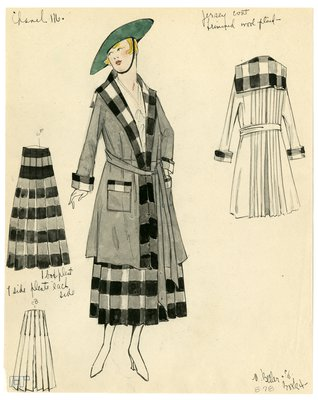Original sketch from A. Beller & Co. of Chanel design, circa 1916-1920
