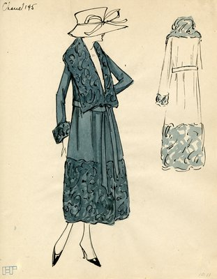 Original sketch from A. Beller & Co. of a Chanel design, circa 1917-1920