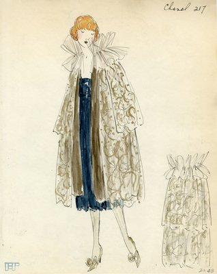 Original sketch from A. Beller & Co. of a Chanel design, circa 1920