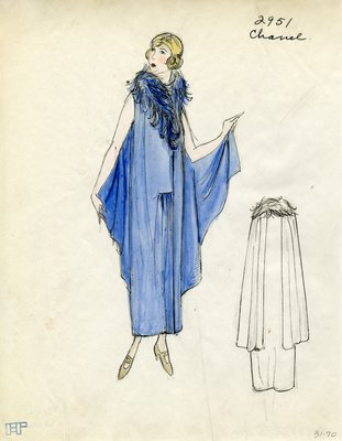 Original sketch from A. Beller & Co. of a Chanel design, Winter 1923