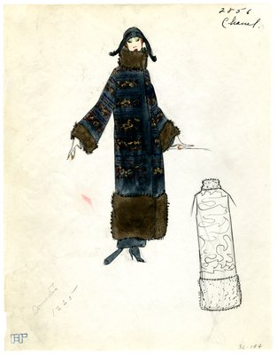 Original sketch from A. Beller & Co. of Chanel design, undated