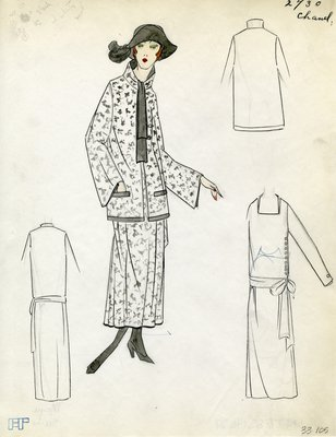 Original sketch from A. Beller & Co. of a Chanel design, Spring 1923