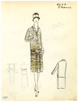 Original sketch from A. Beller & Co. of a Chanel suit, Winter 1926