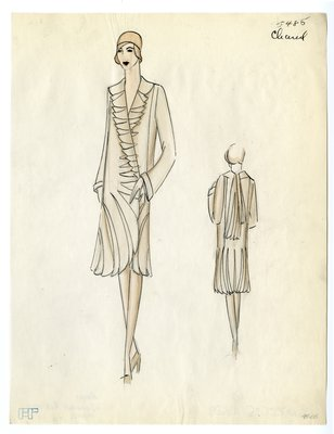 Original sketch from A. Beller & Co. of Chanel design, February 1929