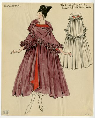 Original sketch from A. Beller & Co. of Chéruit design, circa 1915-1920