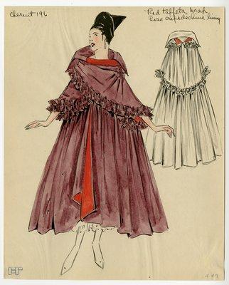 Original sketch from A. Beller & Co. of Chéruit design, circa 1915-1920