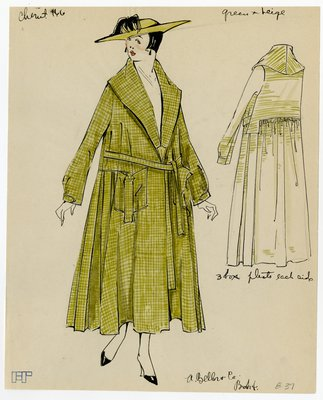 Original sketch from A. Beller & Co. of Chéruit design, circa 1916-1920