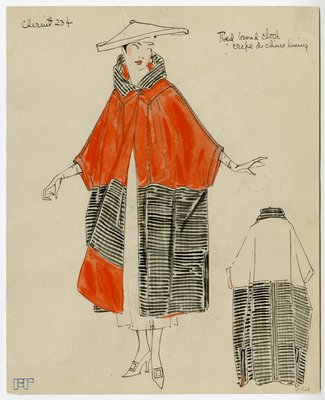 Original sketch from A. Beller & Co. of a Chéruit design, circa 1917-1920