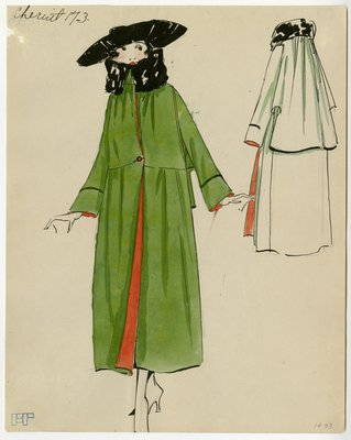 Original sketch from A. Beller & Co. of a Chéruit design, circa 1918-1920