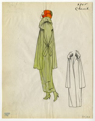 Original sketch from A. Beller & Co. of a Chéruit design, Spring 1923