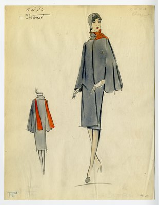 Original sketch from A. Beller & Co. of a Chéruit design, February 1925