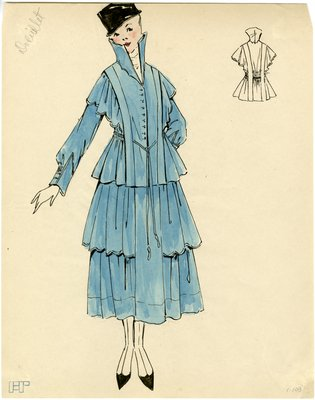 Original sketch from A. Beller & Co. of a Doeuillet design, circa 1914-1920