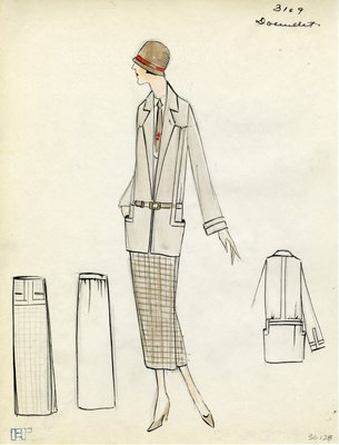 Original sketch from A. Beller & Co. of Doeuillet design, Spring/Summer 1923