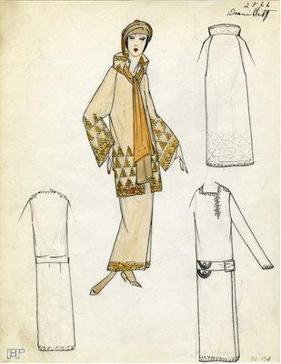 Original sketch from A. Beller & Co. of Doeuillet design, Fall 1923