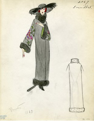 Original sketch from A. Beller & Co. of Doeuillet design, Fall 1923