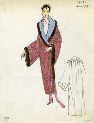 Original sketch from A. Beller & Co. of a Doeuillet design, Spring 1923