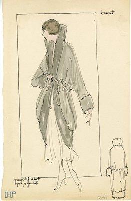 Original sketch from A. Beller & Co. of Doucet design, 1921-1922
