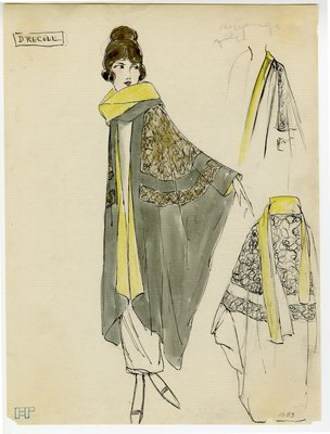 Original sketch from A. Beller & Co. of Drecoll design, circa 1918-1920