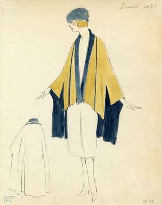 Original sketch from A. Beller & Co. of Drecoll design, circa 1920