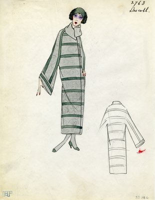 Original sketch from A. Beller & Co. of Drecoll design, Spring 1923