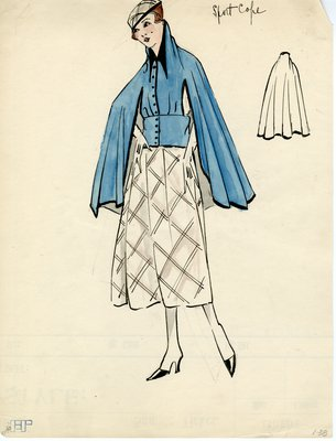 Original sketch from A. Beller & Co. of an Erté design, circa 1914-1920