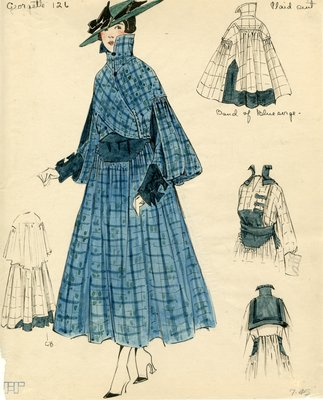 Original sketch from A. Beller & Co. of Georgette design, circa 1916-1920