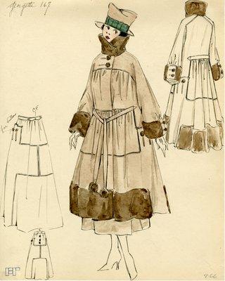 Original sketch from A. Beller & Co. of a Georgette design, circa 1916-1920