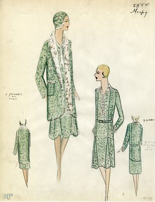 Original sketch from A. Beller & Co. of a Goupy design, Fall Winter 1929