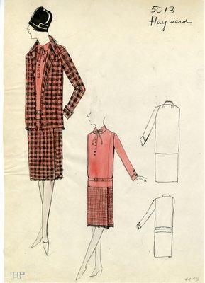 Original sketch from A. Beller & Co. of a Hayward design, Spring 1927-1928
