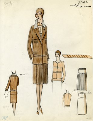 Original sketch from A. Beller & Co. of a Hayward design, Fall/Winter 1929