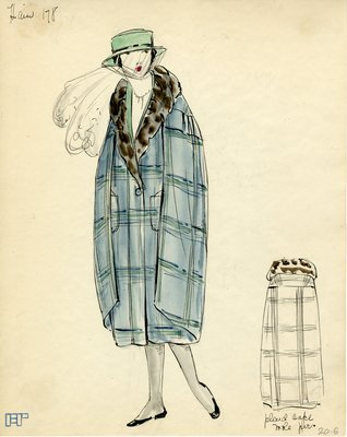 Original sketch from A. Beller & Co. of a Heim design, circa 1920