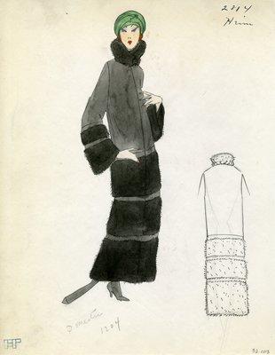 Original sketch from A. Beller & Co. of a Heim design, Fall 1923
