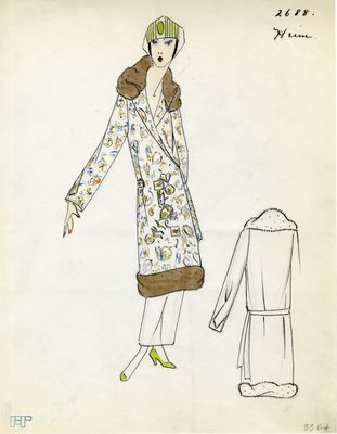 Original sketch from A. Beller & Co. of a Heim design, Spring 1923