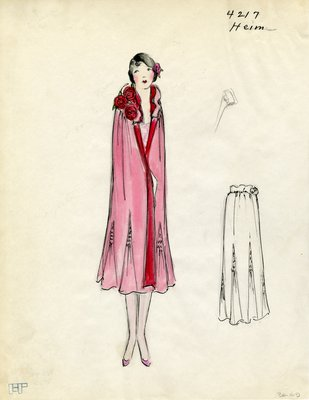 Original sketch from A. Beller & Co. of a Heim design, 1925