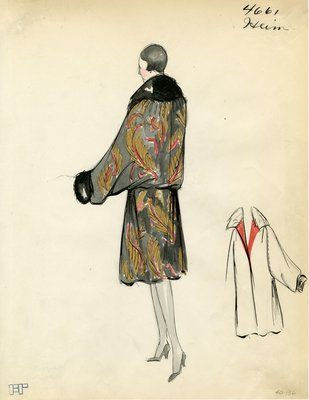 Original sketch from A. Beller & Co. of a Heim design, Winter 1926