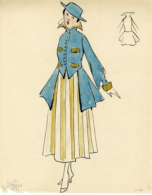 Original sketch from A. Beller & Co. of a Hickson design, circa 1914-1920